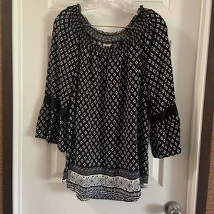 Faded Glory Girls Black Boho Bell Sleeve Dress XL